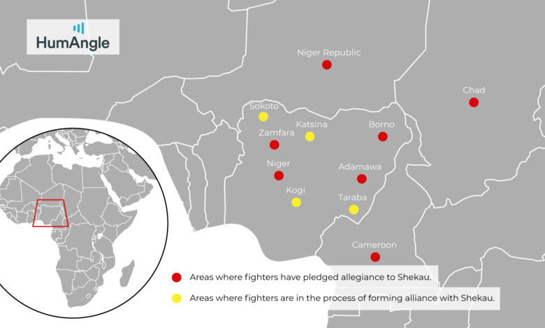 Areas where fighters have pledged allegiance to Shekau