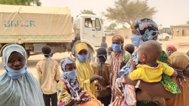 Refugees fleeing violence in north-west Nigeria arrive at the Garin Kaka refugee site in Maradi, Niger in May