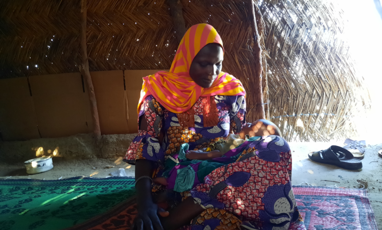 Balu gave birth to her baby a month after returning to the IDP camp. Photo: 'Kunle Adebajo/HumAngle