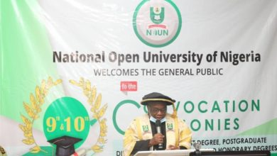 Professor Abdalla Uba Adamu, outgoing Vice-Chancellor of National Open University of Nigeria (NOUN) speaking during the university's convocation ceremony