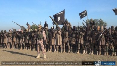 Image released by ISIS propaganda agency Amaq of ISWAP members pledging allegiance to Abu Ibrahim al-Hashimi al-Qurayshi, November 7, 2019.