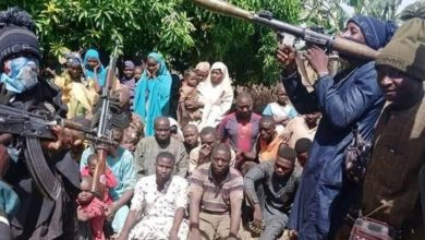 File photo: Terrorists in Niger State brandish heavy arms in front of recent victims of abduction