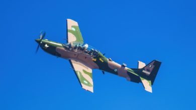 Nigerian Air Force A-29 Super Tucano in new 'jungle' paint ahead of delivery.