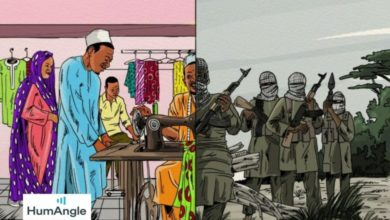 HumAngle sketch depicting the past and present life of a Boko Haram ex-fighter now working as a tailor in Kaduna.