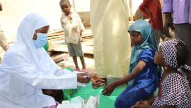 Children being vaccinated at one of the centres. Photo Credit: MSF