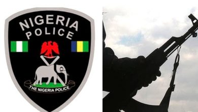 Illustrative images showing the logo of the Nigeria Police Force(left) and a hand wielding gun (right).
